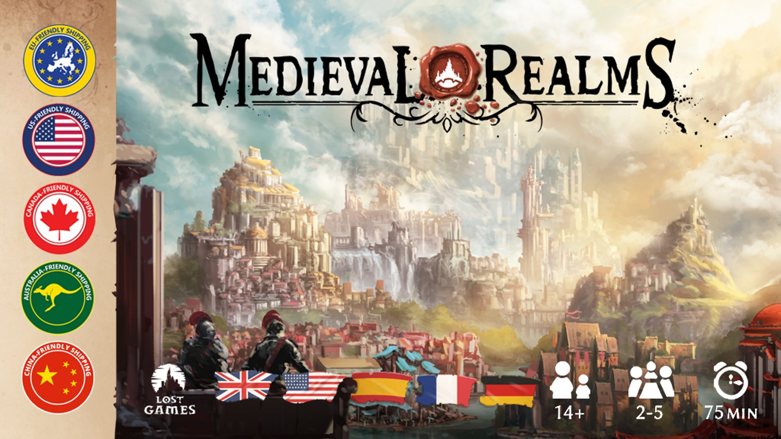 Medieval Realms is a strategic boardgame for 2-5 players, 75min duration.