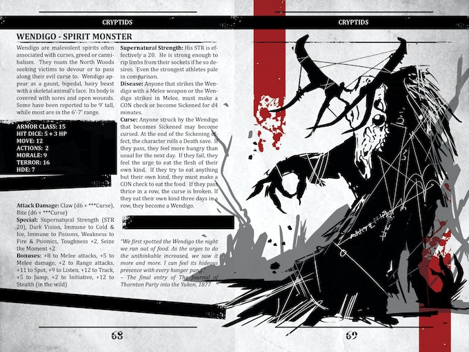 """Survive This!! Cryptid Manual is a unique rpg bestiary. It's overflowing with creatures, new and old, for your games of Dark Places & Demogorgons, or any OSR game that you may enjoy. Designed to emulate a governmental file on all things top secret, this volume of monsters, nefarious and strange."" – Jodie Brandt"