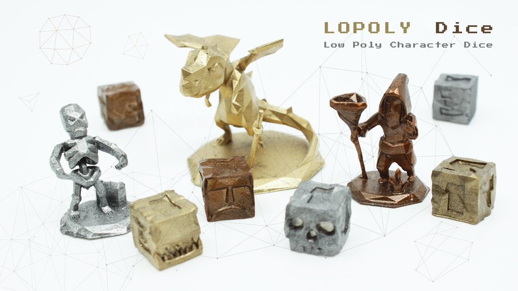 LOPOLY Dice - The Dragon, Skeleton and Wizard