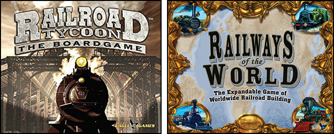 Box covers for Railroad Tycoon (2005) and Railways of the World (2009)
