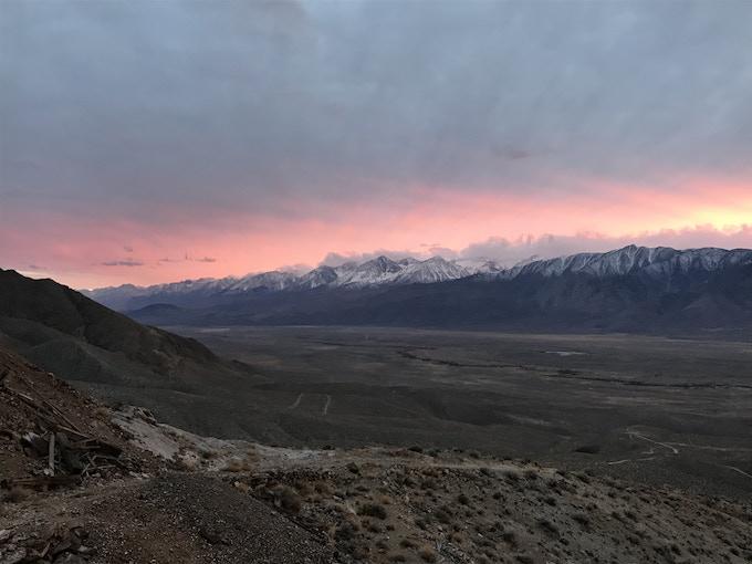 Facing south toward the Palisade Glacier at sunset
