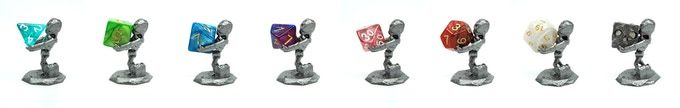 D4 - D20 and LOPOLY Dice with The Skeleton