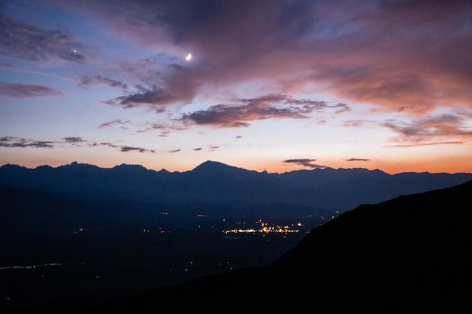 Sunset/Moonset over Bishop