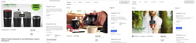 [All three Cafflano® products were successfully funded on Kickstarter]