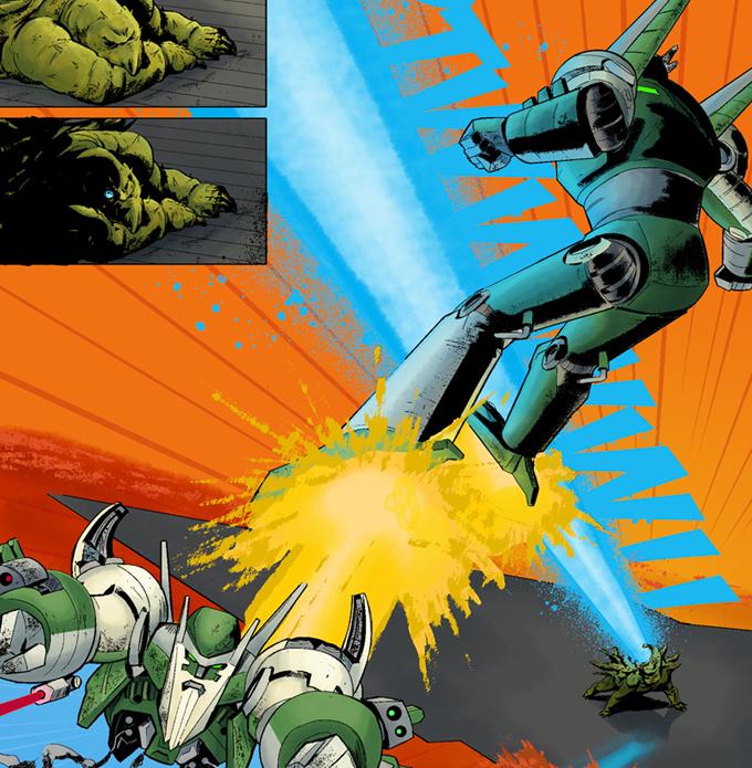 Rex's Robot vs a Kaiju (Art by Leandro Panganiban)