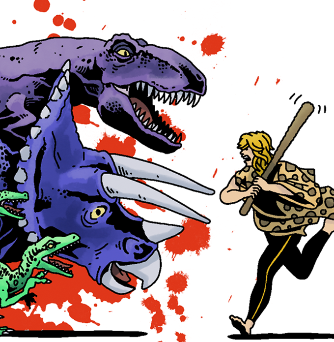 Tharga loves beating up dinosaurs (Art by Paul Williams)