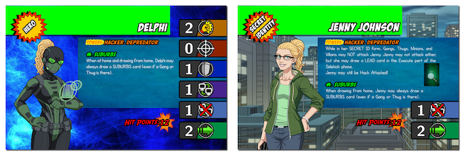 Delphi in her Hero form and Secret ID form (on the other side of the character card!)