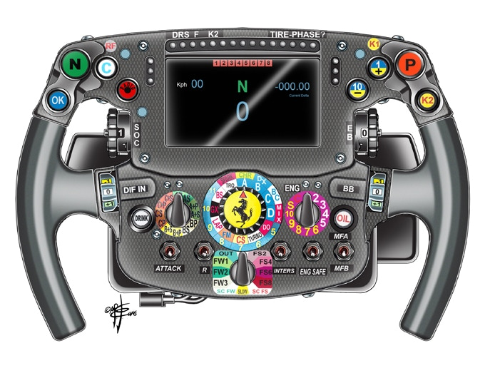 Drawing of Ferrari SF16-H steering wheel