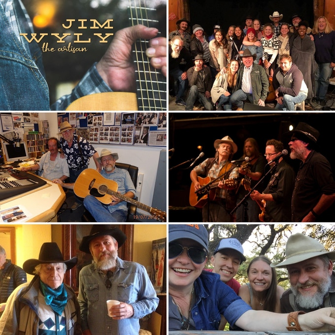 Clockwise, from top left: Jim Wyly's The Artisan; Chuck at the Soldier Songs & Voices Reveille Retreat; Chuck & George Ensle on the Kerrville Folk Festival Main Stage; Chuck with Libby Koch & Ordinary Elephant; Chuck & Ramblin' Jack Elliott; Chuck with Rob & Mark Ellen