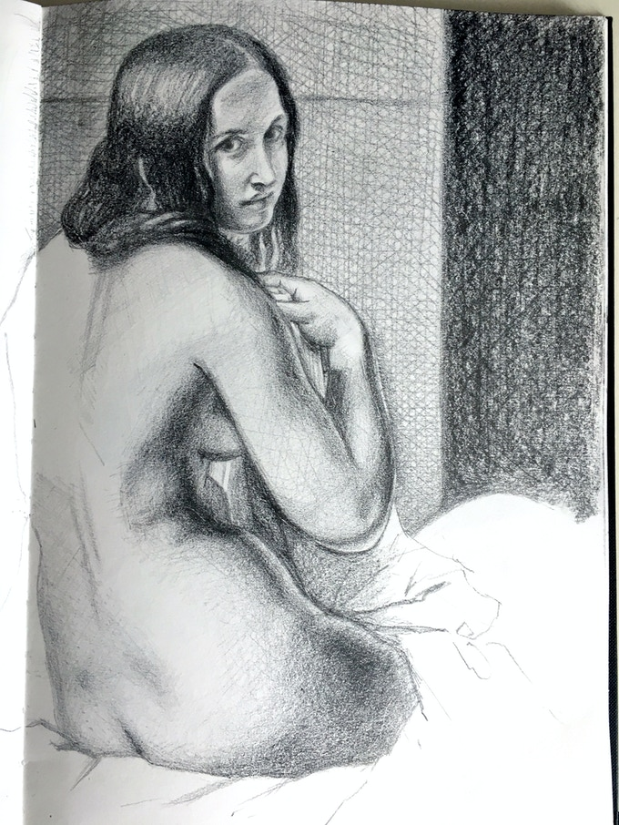 Sketchbook drawing of a painting by Ingres in the National Gallery, London
