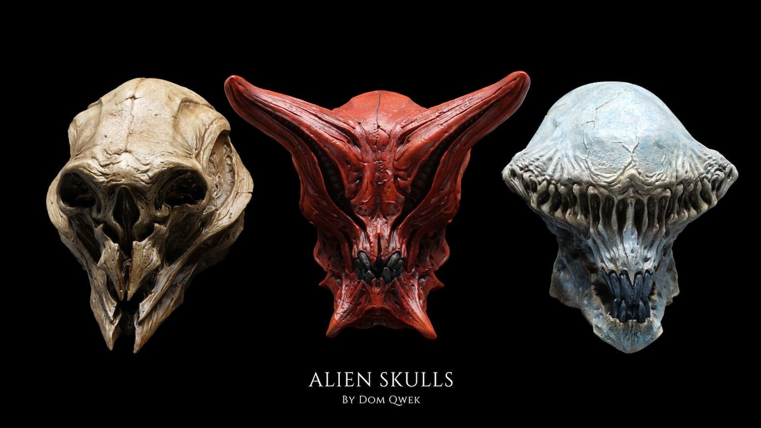 Alien Skulls sculpted by artist Dom Qwek presented as collectible art sculpture.