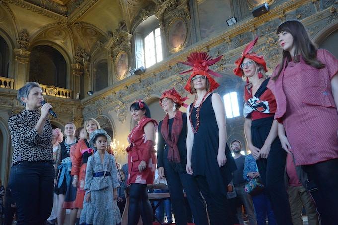 vue de défilé des nouvelle création du kimono en 2018/ 2018年に企画した着物のリメイク作品ファッションショーの様子
