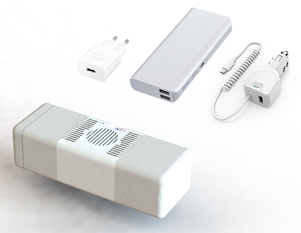Cool-ins' power sources. Battery pack, car adapter, plug-in charger not included