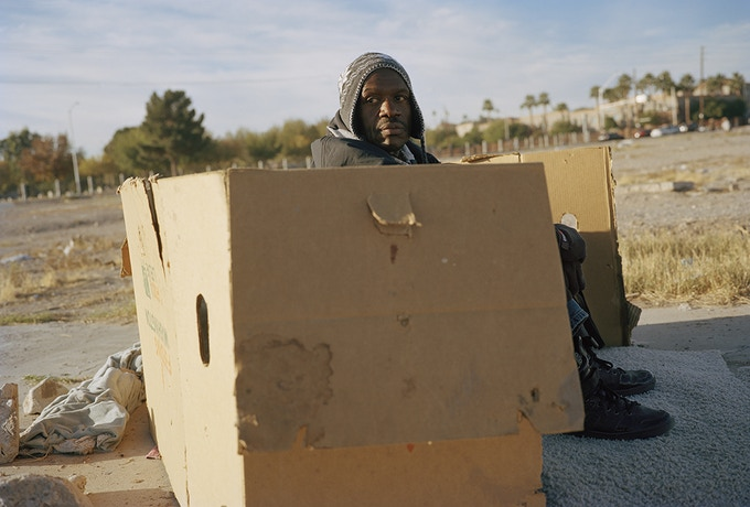 Jacob's cardboard shelter. 'I just became homeless a few weeks ago. I used to drive through here and see the homeless but like most I turned a blind eye never thinking that could be me, and here I am.' Las Vegas, Nevada 2016