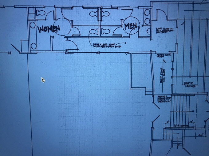 The floor plan for the poopers.