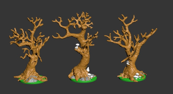 All trees were modeled with 3D printing in mind from the get go.