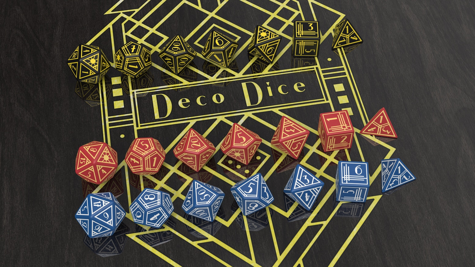 From the Golden Age of the parlor game comes Deco Dice. This luxurious, elegant polyhedral dice set ensures you always roll with style.