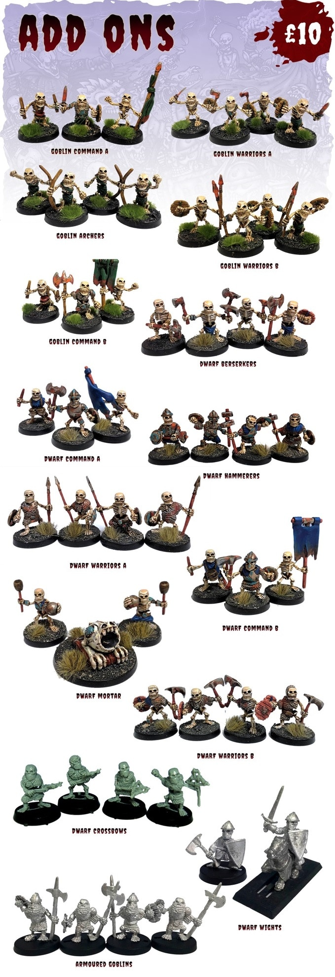 Dwarf Mortar and Dwarf Wights are metal. Price is £10 per set.