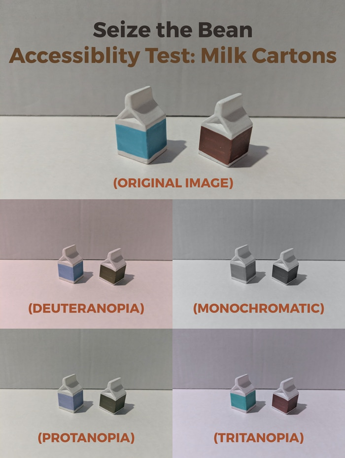 Colorblind tests via a simulator to help us check the milk cartons.