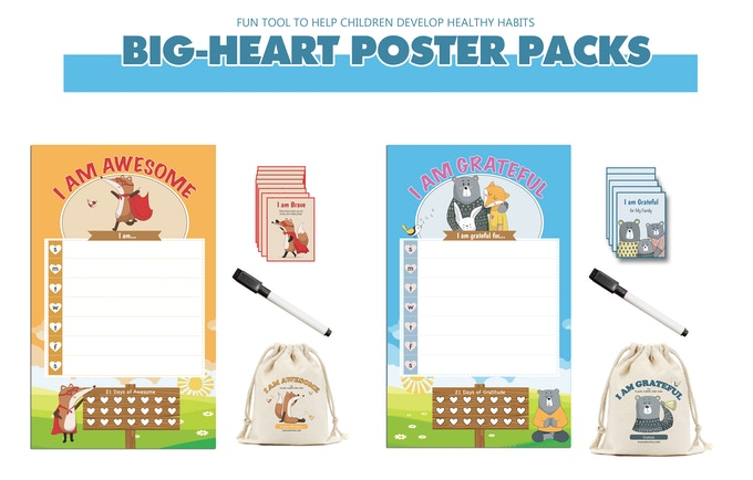 21 day challenge - Dry Erase Poster with Marker and Big-Heart Cards
