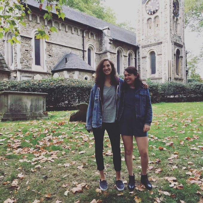 Margaret & Olivia at St. Pancras Old Church in London
