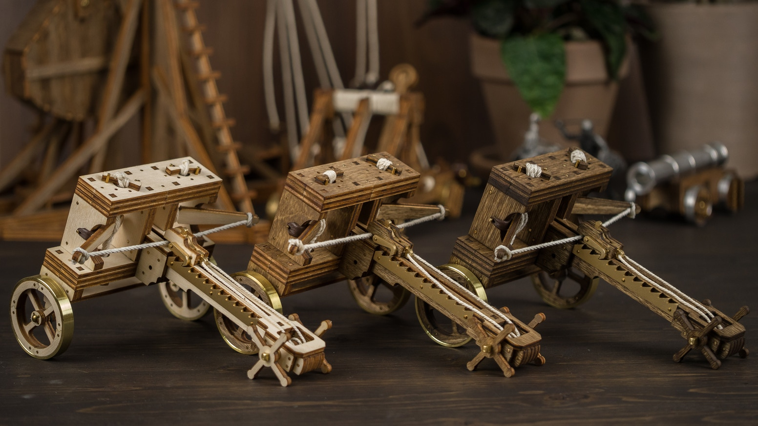 Build your own desktop ballista! Made from real wood and brass.