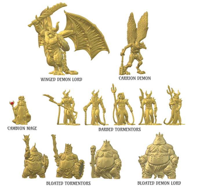 Included with the Impish Minion ($20), Bearded Devil ($40), Arch-Demon ($50), and Monarch of Hell ($200) pledge levels. All of the models shown print without support (some being printed in multiple parts requiring assembly)