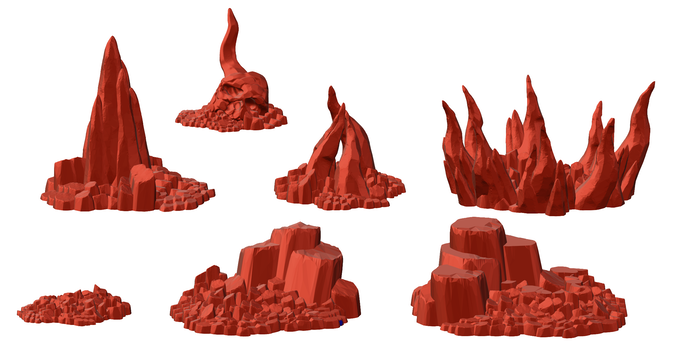 These hellish bits of rocky scatter terrain all print without support and can be re-scaled to suit your needs. The Hellscape terrain is included with the Infernal Outcast ($10), Bearded Devil ($40), Arch-Demon ($50), and Monarch of Hell ($200) pledge levels.