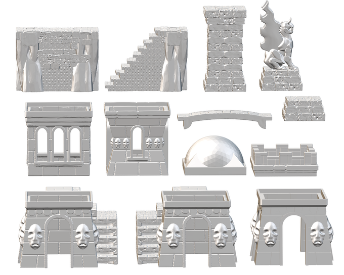 The City of Dis collection includes variations on a modular stackable tower, plus terrain for building city streets and walls and adding architectural volume to your playing field. The City of Dis is included with the Tormented Architect ($15), Bearded Devil ($40), Arch-Demon ($50), and Monarch of Hell ($200) pledge levels.