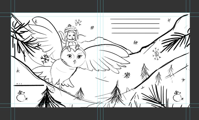 Here is the revised sketch of the snowy owl scene! Notice how we incorporated more of the scenery and you can really connect with the character's emotions.