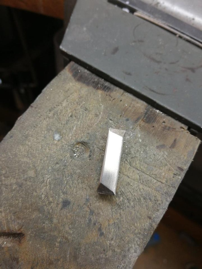 9ct White Gold bar, ready to roll down to make into a ring