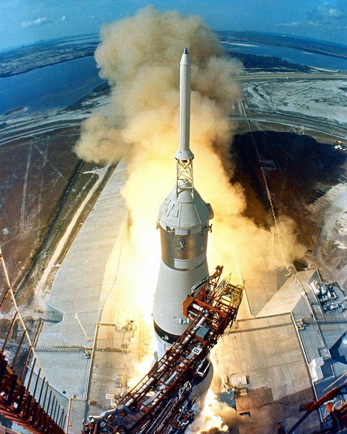 The Apollo 11 Saturn V space vehicle at 9:32 a.m. EDT