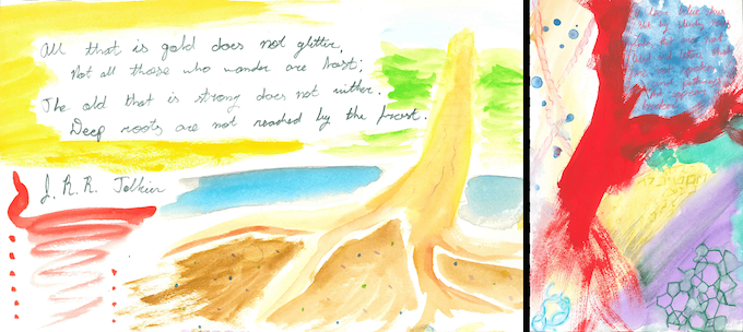 Left: an illustrated Tolkien quote, and right: an untitled poem