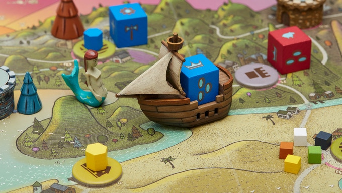 The blue player rushes down the river careful to avoid the siren's gaze.