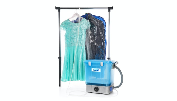 You just need to put the clothes in a plastic bag and send dry OZONE there with a silicone hose from WONDERTOOL™
