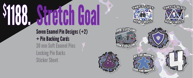If funding reaches $1188, the pins will be upgraded with cool backing cards, and two additional pin designs will be available (seven total).