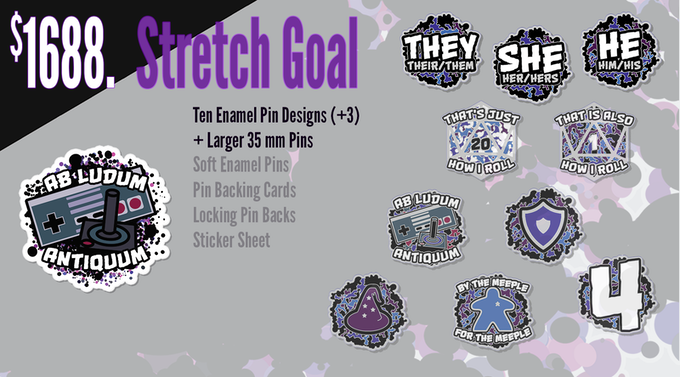 If funding reaches $1688, the pins will be upgraded from 30mm (1.18 in) to 35 mm (1.38 in) and another three additional pins designs will be unlocked (ten total).