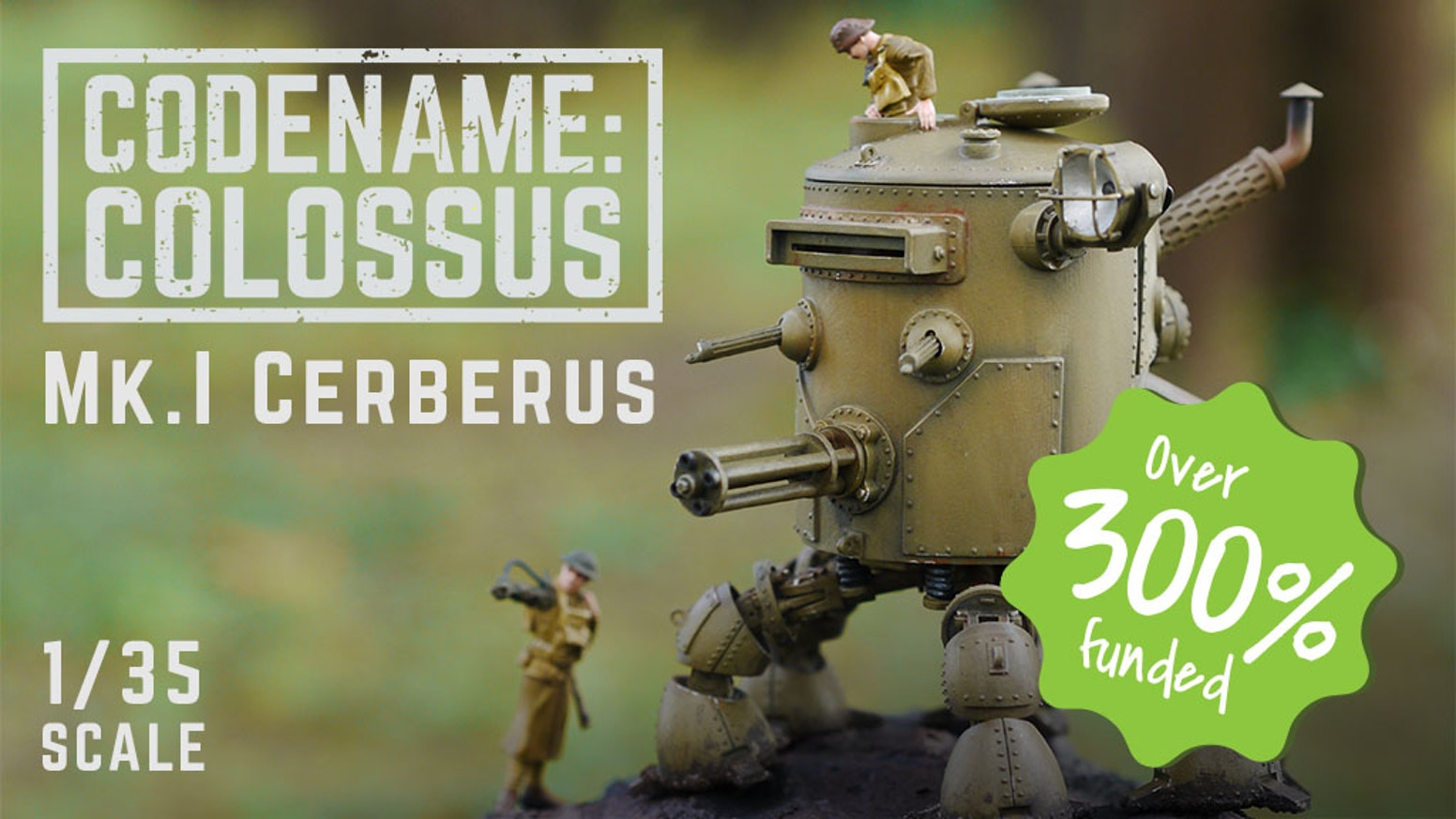 The Mk.I Cerberus is a 1/35 scale mechanized dieselpunk walking tank resin scale model kit based in the world of Codename Colossus