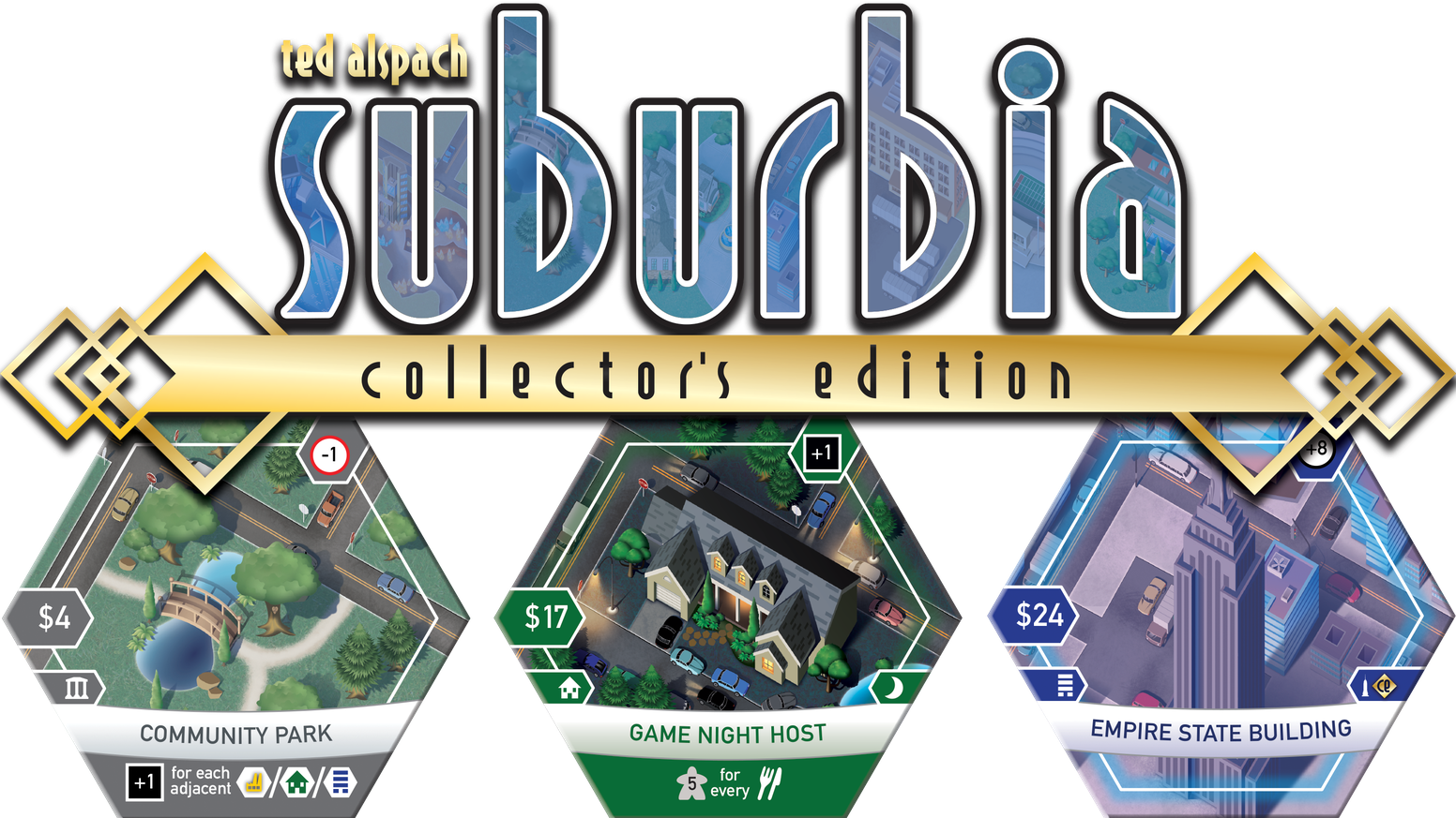 A special collector's edition of the city-building board game Suburbia with new art, premium components, and a new expansion.