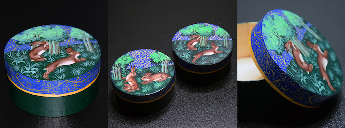Example of hand-painted wooden boxes by Medieval Boxes.
