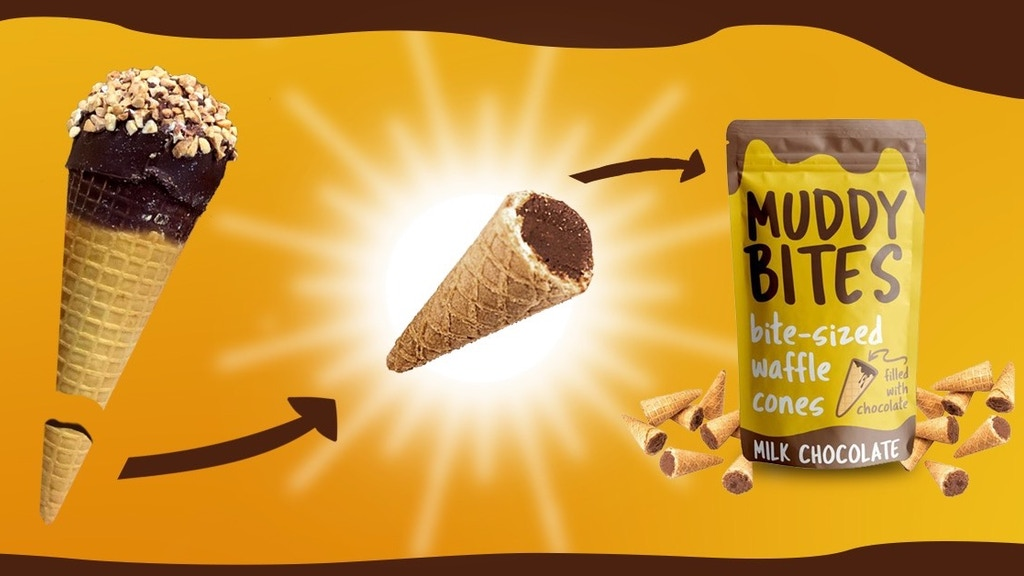Muddy Bites: Bite-Sized Waffle Cones Filled With Chocolate.