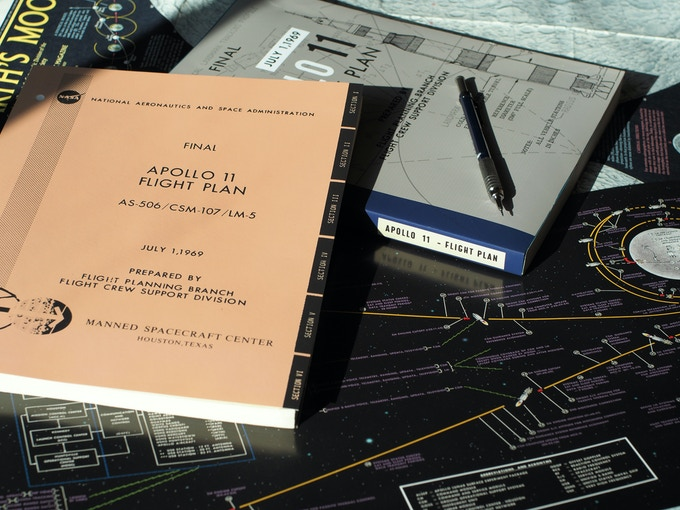 Mock-ups of the Apollo 11 Flight Plan Reprints