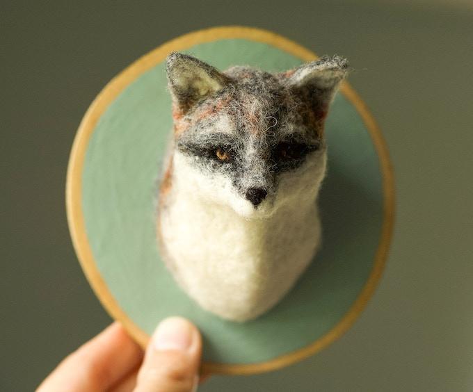 Needle Felted Grey Fox Soft Sculpture