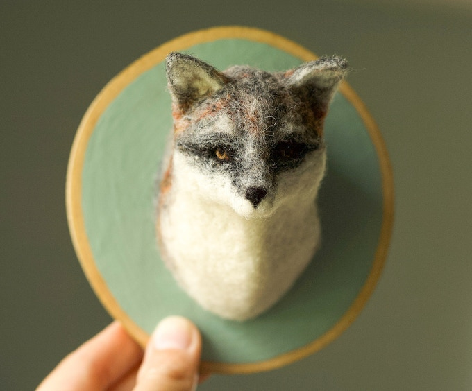 Needle Felted Grey Fox Soft Sculpture