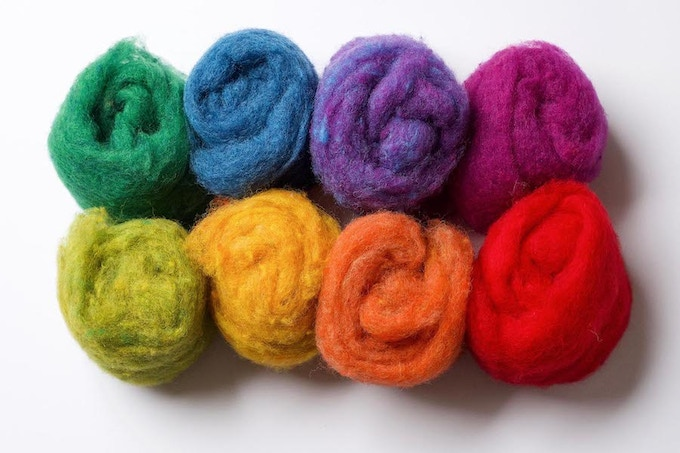 Rainbow Assortment of 100% Wool Batting. This is one of the pre-made assortments we currently offer on our website, greyfoxfelting.com. In our storefront, you'll be able to create your own assortments, and we'll also be there if you need some guidance in choosing the perfect colors for your next project!