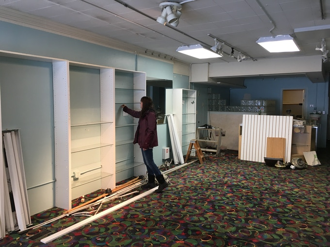 Surveying our space...Imagine this wall stocked with over 100 colors of beautiful wool for felting, weaving, spinning, and more! And we'll be lightening up that area towards the back to host our community craft nights and workshops!
