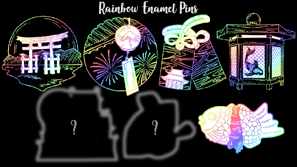 Japan Inspired Rainbow Enamel Pins
