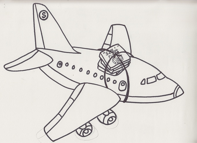Original line drawing of the airplane carrying Sally's pizza boxes used in an animated segment in the film