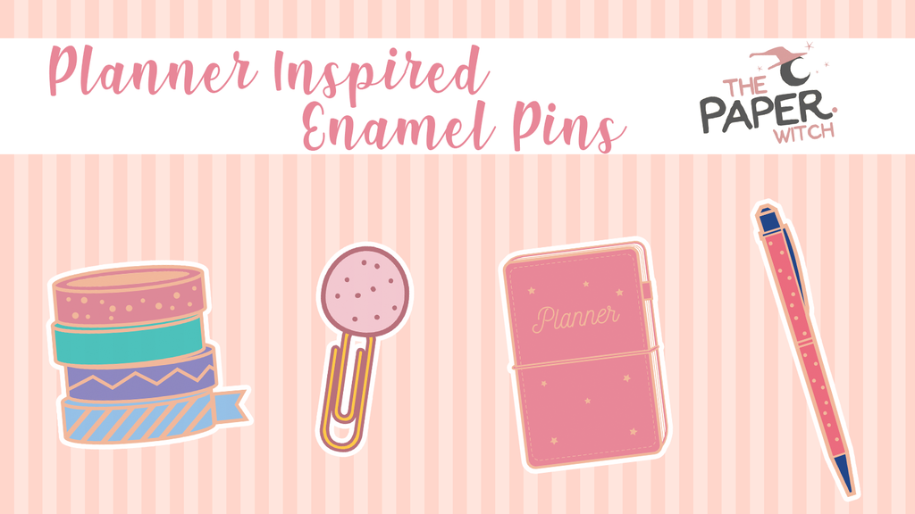 A set of rose gold enamel pins based around the Planner community