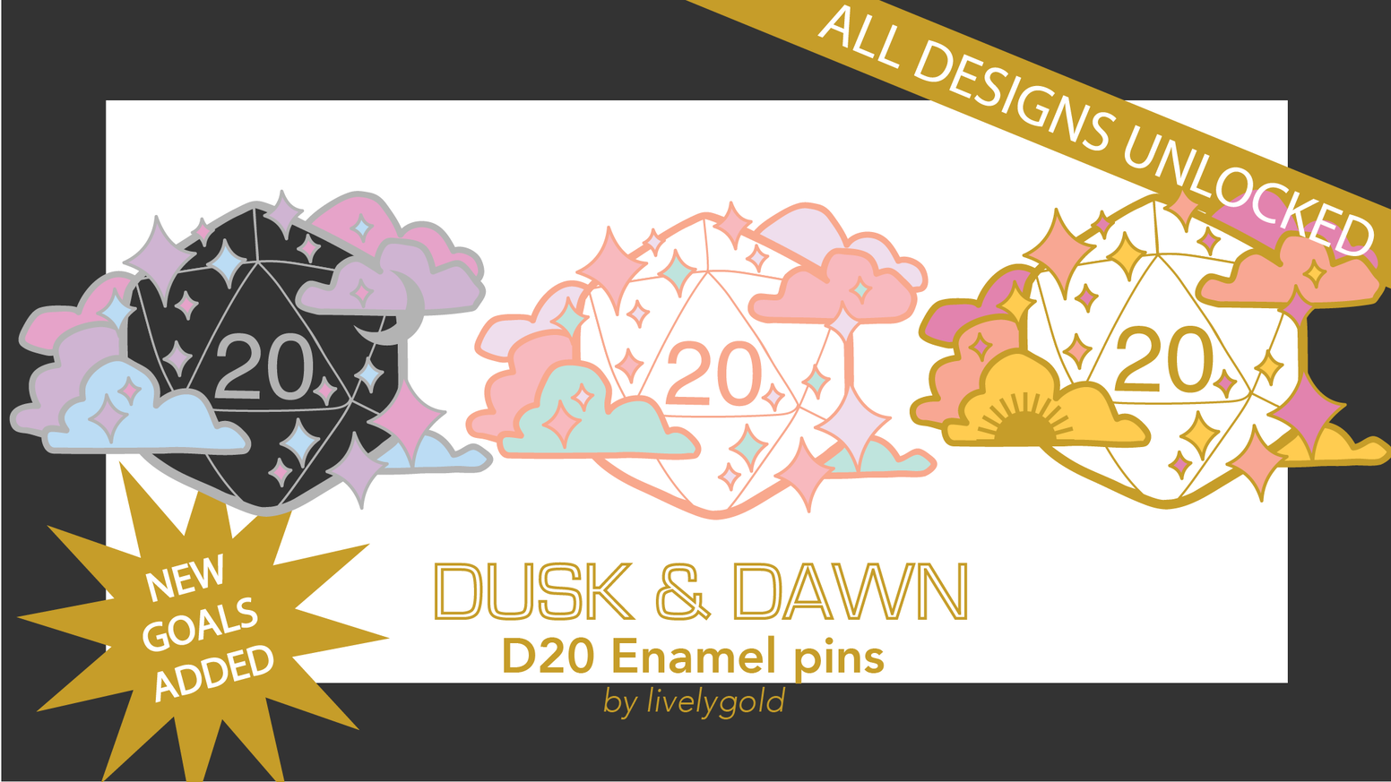 For future updates and pins, head tohttps://www.livelygold.com/.Dusk & Dawn is a project that created cute set of enamel pins for DND fans and other rpg adventurers, inspired by the glory of a natural 20.